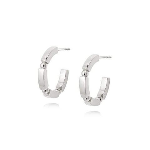 Daisy London Stacked Chunky Midi Hoops - Silver
