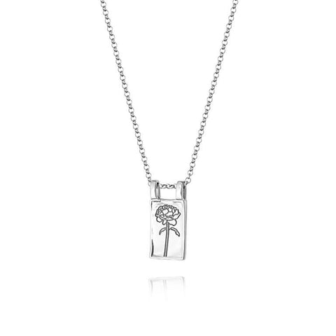 Daisy London Rose Flower Necklace Sterling Silver