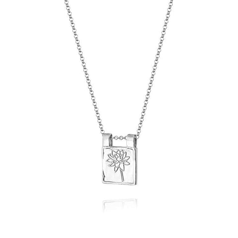 Daisy London Water Lily Necklace Sterling Silver