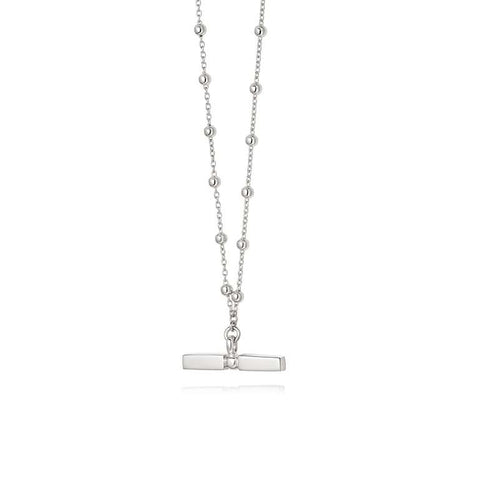 Daisy London Stacked T Bar Necklace Sterling Silver