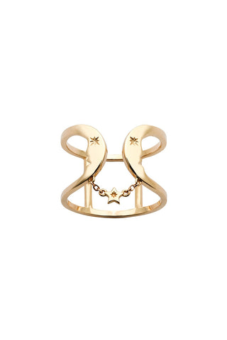KAREN WALKER 9CT GOLD DOUBLE CRESCENT RING