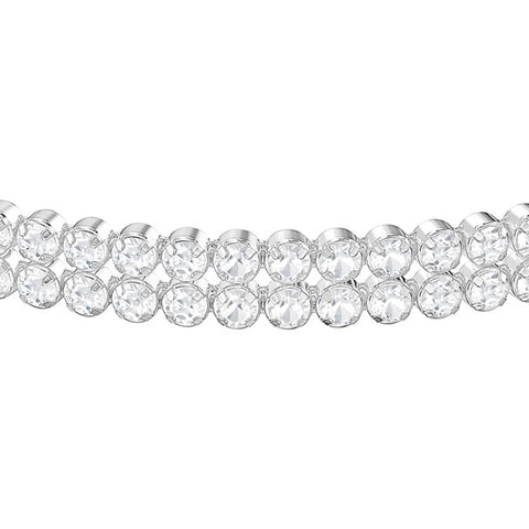 Subtly Double Bracelet, White, Rhodium Plating