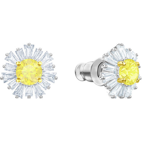 Sunshine Pierced Earrings, White, Rhodium Plating