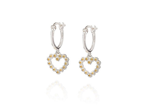 Daisy London Iota Daisy Heart Drop Earrings