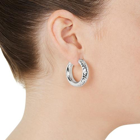 Najo - Leonda Earring - 6.5X30mm Silver Hoop Earrings With Beaten Finish