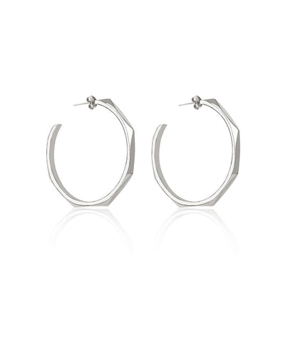 Edge of Ember Facet Silver Hoops