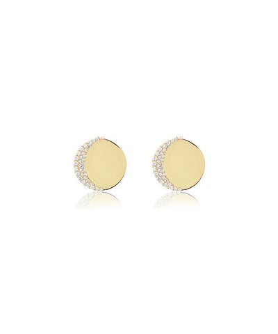 Edge of Ember Moon Disc Gold Earrings