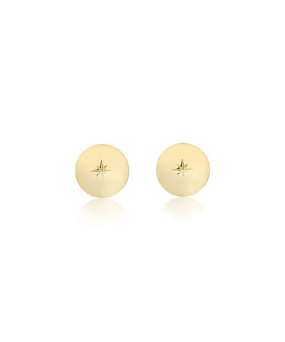 Edge of Ember Star Disc Gold Earrings
