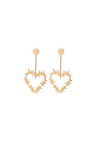 Karen Walker Electric Heart Drop Earrings - Hard Gold Plate
