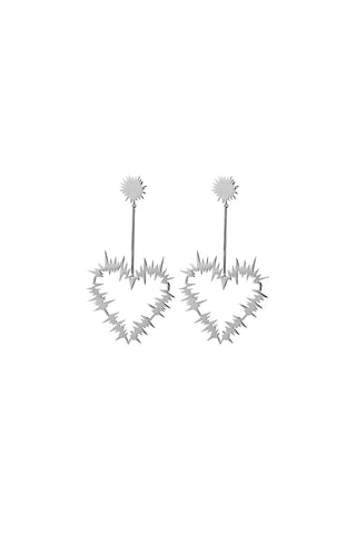 Karen Walker Electric Heart Drop Earrings - Sterling Silver