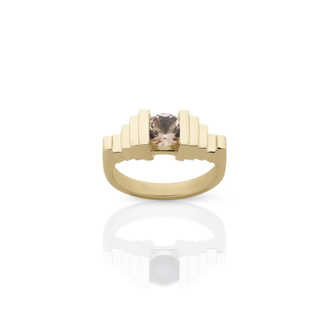MEADOWLARK EMPIRE RING - 9CT YELLOW GOLD & MORGANITE