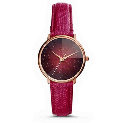 Fossil- Prismatic Galaxy Three-Hand Fuschia Leather Watch