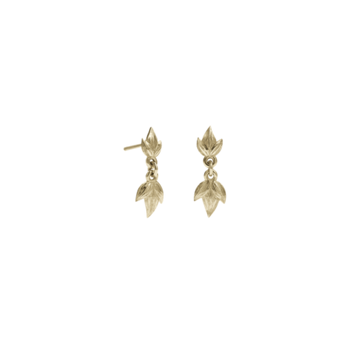 Meadowlark Etched 3 Leaves Drop Earrings Small - Gold Plated