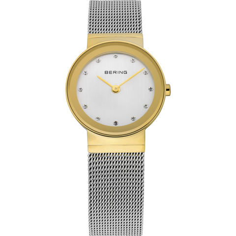 Bering Ladies Silver Mesh Watch Polished Gold 10126-001