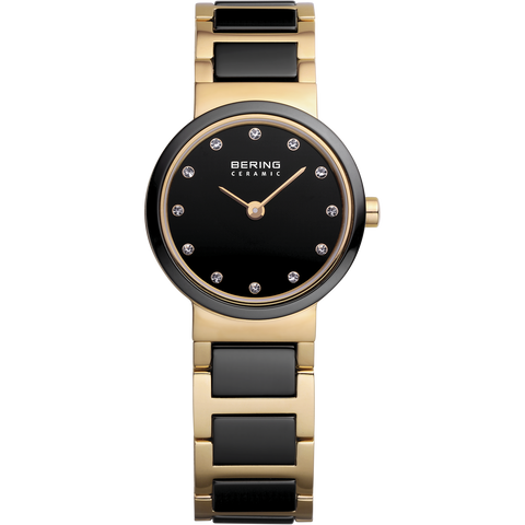 Bering Ladies Black Ceramic and Gold Watch 10725-741