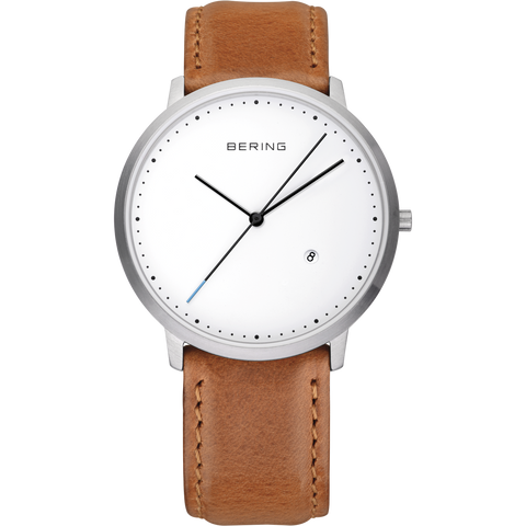 Bering Gents Classic Brushed Silver Tan Strap 11139-504