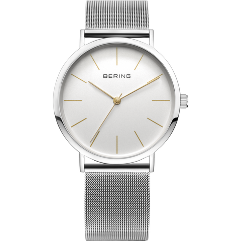 Bering Gents Vintage Slim Gold Highlights Steel Mesh Watch 13436-001