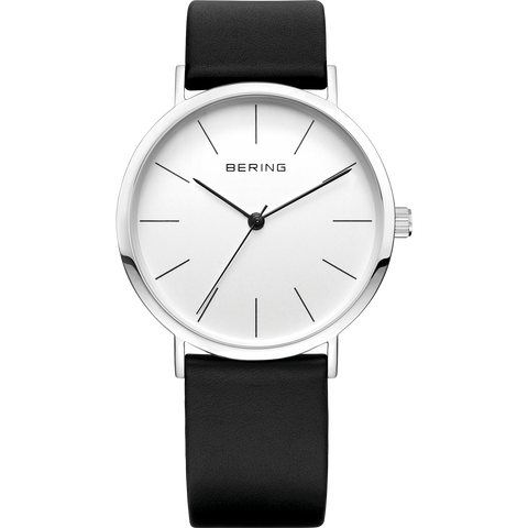 Bering Gents Slim Black Leather Watch 13436-404