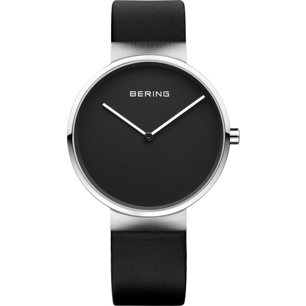 Bering Gents Black Dial Black Leather Strap Watch 14539-402