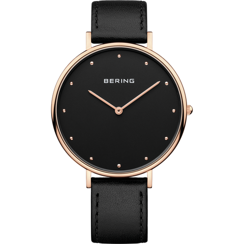 Bering Gents Classic Rose and Black Leather 14839-462