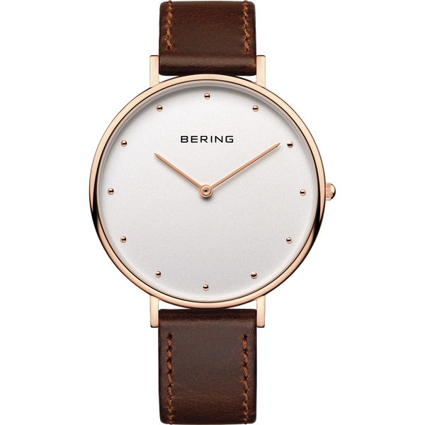Bering Rose & Brown Leather Gents Watch 14839-564