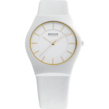 Bering Ladies White Ceramic White Leather Strap Watch 32035-656