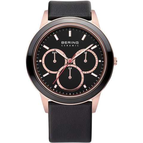 Bering Gents Multi function Rose Ceramic Bezel Black Leather Watch 33840-446