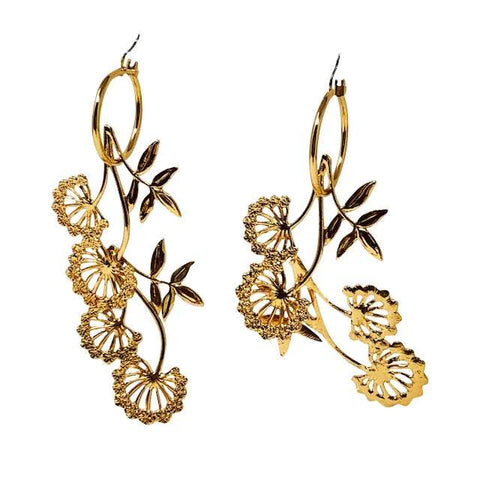 Lindi Kingi Floral Vine Hoop Earrings - Gold Plate