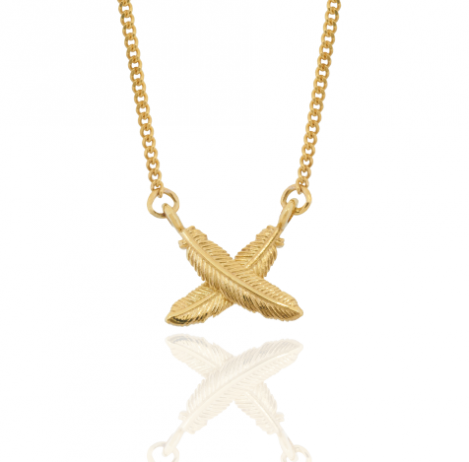 9CT GOLD PETITE FEATHER KISSES PENDANT