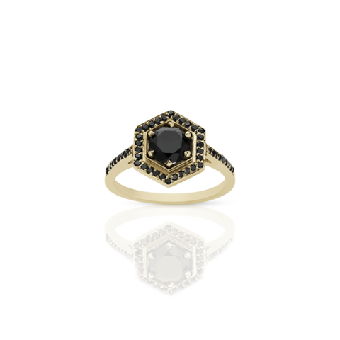 Meadowlark Hexagon Engagement Ring - 9ct Yellow Gold & Black Diamond