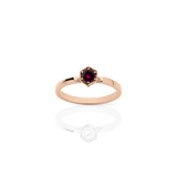 MEADOWLARK HEXAGON SOLITAIRE RING - 9CT ROSE GOLD & RHODOLITE GARNET