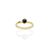 MEADOWLARK HEXAGON SOLITAIRE RING - 9CT YELLOW GOLD & MIDNIGHT SAPPHIRE