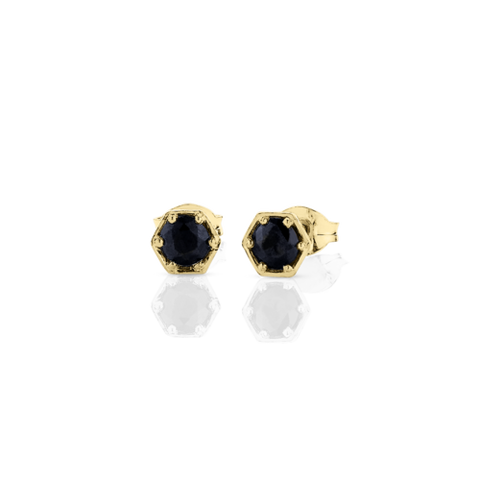 Meadowlark Hexagon Stone Studs - 9ct Yellow Gold & Midnight Sapphire