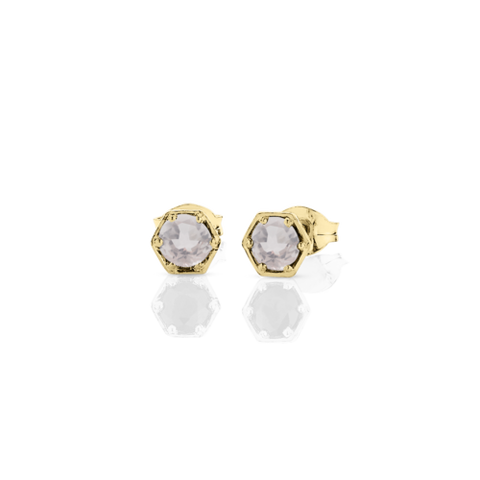 Meadowlark Hexagon Stone Studs - 9ct Yellow Gold & Rose Quartz