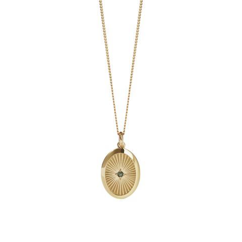 Meadowlark - Halcyon - Inez Necklace Gold Plate Green Sapphire