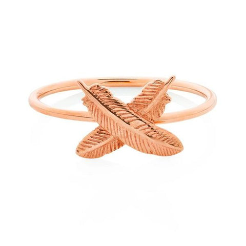 Boh Runga Feather Kisses Ring - 9ct Rose Gold, Size Q