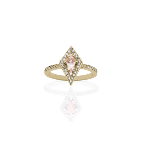 MEADOWLARK KITE ENGAGEMENT RING - 9CT YELLOW GOLD WITH MORGANITE & WHITE DIAMOND