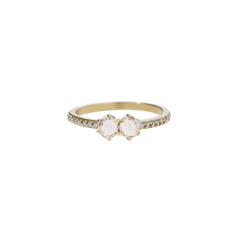 Meadowlark Luna Ring .05ct - 9ct Yellow Gold, Morganite & White Diamond