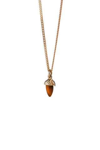Karen Wlaker - Micro Acorn and Leaf Necklace Gold