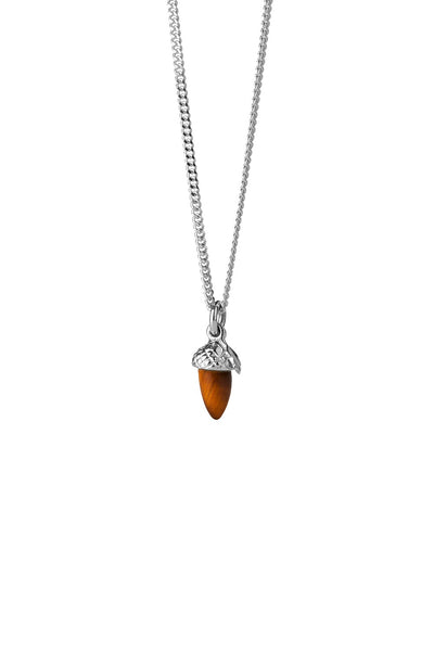 Karen Walker - Micro Acorn and Leaf Necklace Silver