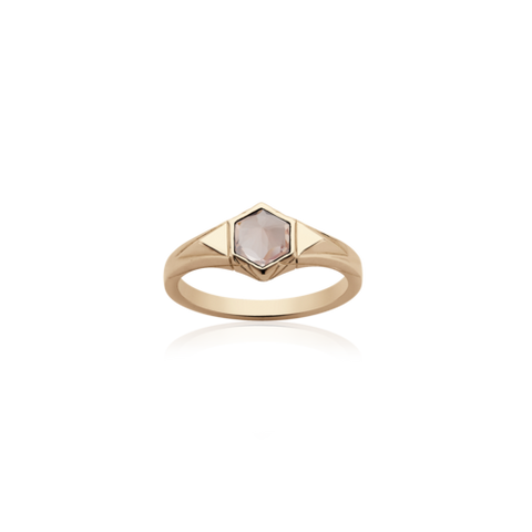 MEADOWLARK MINI HEXAGON STONE RING - 9CT ROSE GOLD & ROSE QUARTZ