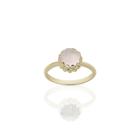 Meadowlark Mini Protea Ring - 9ct Yellow Gold & Rose Quartz
