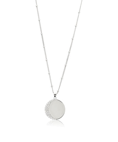Edge of Ember Moon Disc Silver Necklace