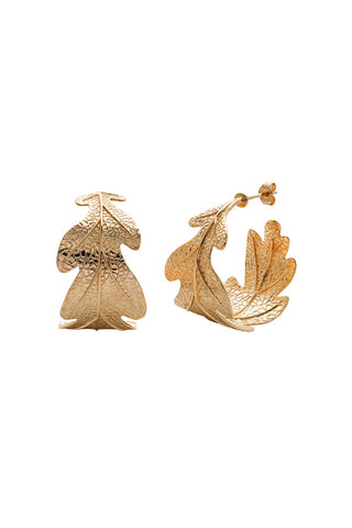 Karen Walker Oak Leaf Earrings - Hard Gold Plate