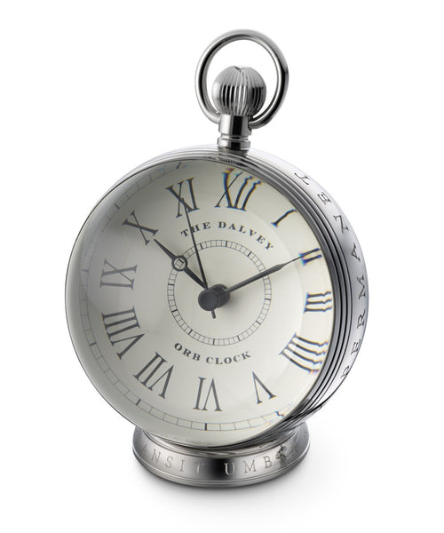 DALVEY SCOTLAND STAINLESS STEEL & CRYSTAL GLASS LENSE ORB CLOCK