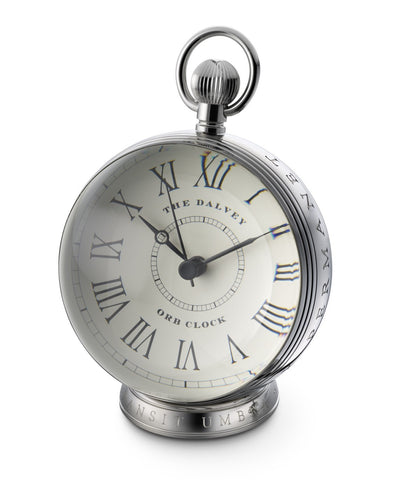 Dalvey Scotland Stainless Steel & Crystal Glass Lens Orb Clock - 3100