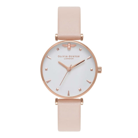 OLIVIA BURTON QUEEN BEE T-BAR NUDE PEACH & ROSE GOLD WATCH OB16AM95