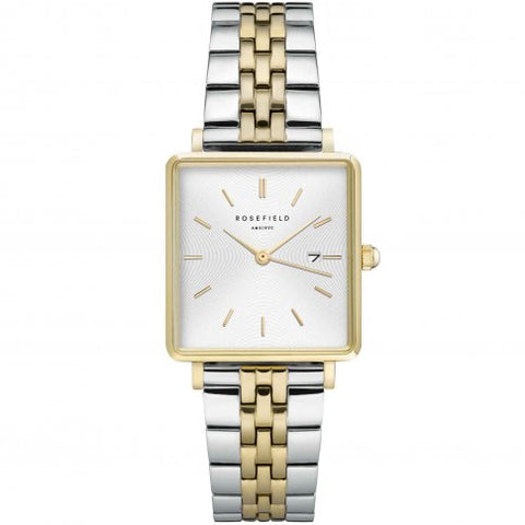 Rosefield 'The Boxy' Two-Tone Stainless Yellow Gold White Dial Watch -QVSGD-Q013