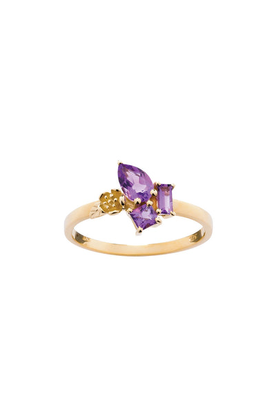 ROCK GARDEN MINI RING GOLD & AMETHYST