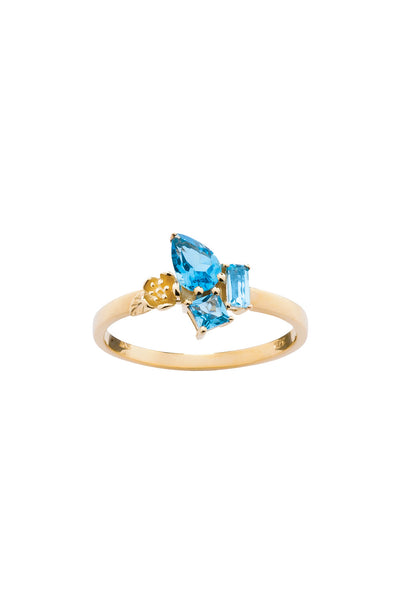 Karen Walker Rock Garden Mini Ring - 9ct Gold, Blue Topaz